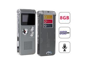 Lychee 8GB Voice Recorder USB Rechargeable Dictaphone LCD Recorder with Multifunctional Digital Audio and MP3 Music Player (Silver Grey)