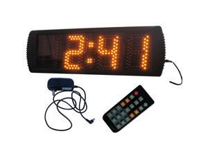 "GODRELISH Semi-outdoor LED Digital Clock 5"" High Character 12/24-Hour Display GODRELISH Support Countdown/up Function in Minutes Seconds Large LED Race Timing Clock Yellow Color LED Wall Clock"