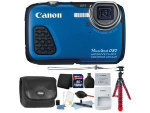Canon PowerShot D30 12.1MP Waterproof Digital Camera (Blue) + 32GB Memory Card + Wallet + Reader +  Dust Blower + Lens Pen + Camera Case + 3pc Cleaning Kit + Flexible Tripod