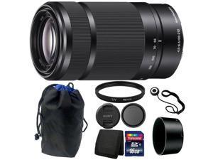 Sony E 55-210mm F4.5-6.3 Lens (Black) + 49mm UV Filter + 16GB Memory Card  +  Wallet + Cap Holder