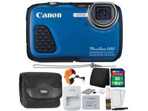 Canon PowerShot D30 12.1MP Waterproof Digital Camera (Blue) + 8GB Memory Card + Wallet + Float Strap + Camera Case + 5pc Cleaning Kit
