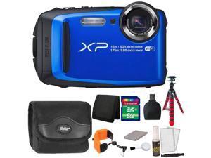 Fujifilm FinePix XP90 16 MP Waterproof Digital Camera  (Blue) + 8GB Memory Card + Wallet + Reader + Camera Case + Floating Strap + Flexible Tripod + 5pc Cleaning Kit
