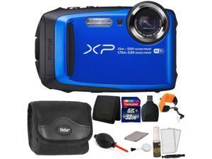 Fujifilm FinePix XP90 16 MP Waterproof Digital Camera  (Blue) + 32GB Memory Card + Wallet + Reader + Camera Case + Floating Strap + Dust Blower + 5pc Cleaning Kit