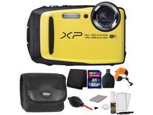 Fujifilm FinePix XP90 16 MP Waterproof Digital Camera  (Yellow) + 32GB Memory Card + Wallet + Reader + Camera Case + Floating Strap + Dust Blower + 5pc Cleaning Kit