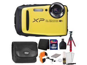 Fujifilm FinePix XP90 16 MP Waterproof Digital Camera  (Yellow) + 32GB Memory Card + Wallet + Reader + Camera Case + Floating Strap + Flexible Tripod + 5pc Cleaning Kit