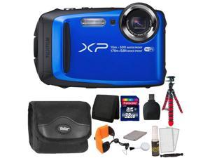 Fujifilm FinePix XP90 16 MP Waterproof Digital Camera  (Blue) + 32GB Memory Card + Wallet + Reader + Camera Case + Floating Strap + Flexible Tripod + 5pc Cleaning Kit