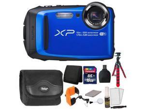 Fujifilm FinePix XP90 16 MP Waterproof Digital Camera  (Blue) + 16GB Memory Card + Wallet + Reader + Camera Case + Floating Strap + Flexible Tripod + 5pc Cleaning Kit