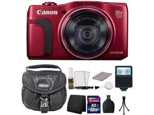 Canon PowerShot SX710 HS 20.3 MP Digital Camera Red 32GB + Accessory Kit