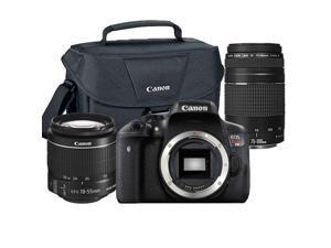 Canon EOS Rebel T6/1300D 18MP DSLR Camera + 18-55mm + 75-300mm Lens & Case
