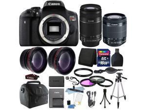 Canon EOS Rebel T6i/750D 18MP DSLR Camera with 16GB Top Accessory Bundle