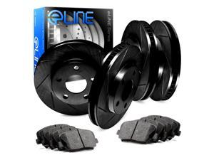 Front and Rear Black Slotted Brake Rotors & Ceramic Brake Pads 2000 GTX,Galant