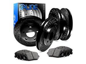 Full Kit Black Cross-Drilled Brake Rotors & Ceramic Brake Pads 2000 GTX,Galant
