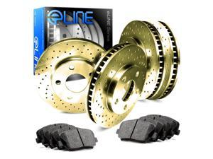 Full Kit Gold Cross-Drilled Brake Rotors & Ceramic Brake Pads 2000 GTX,Galant
