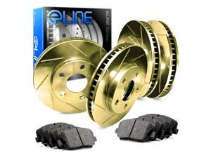 Front and Rear Gold Slotted Brake Rotors & Ceramic Brake Pads 2000 GTX,Galant