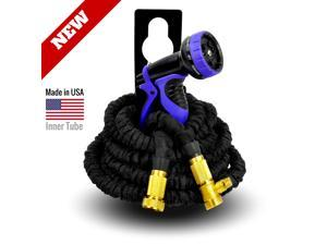 World's Strongest Expandable Garden Hose Set, with MADE IN USA inner tube material, FREE with 9-Settings Hose Nozzle & Hose Holder (25 ft, Black)