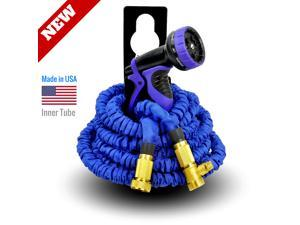 World's Strongest Expandable Garden Hose Set, with MADE IN USA inner tube material, FREE with 9-Settings Hose Nozzle & Hose Holder (50 ft, Blue)