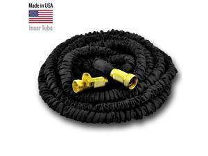 Expandable Garden Hose with Inner Tube Material, Free Shut Off Valve (100 ft, Black)