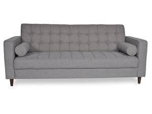 "Ashcroft Imports - ASH2000 - ""Charles"" - Sofa - Mid Century Modern - Walnut Feet - Grey Polyester Blend Upholstery"