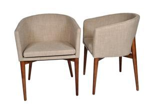 "Ashcroft Imports - ASH3510 - ""Beverly"" - Dining Chairs - Mid Century Modern - Set of 2 - Walnut Legs - Beige Polyester Upholstery"
