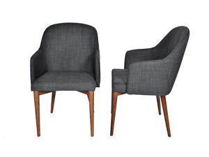 "Ashcroft Imports - ASH3900 - ""Copenhagen"" - Dining Chairs - Mid Century Modern - Set of 2 - Walnut Legs - Seaside Grey Polyester Upholstery"