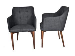 "Ashcroft Imports - ASH3600 - ""Buxton"" - Dining Chairs - Mid Century Modern - Set of 2 - Walnut Legs - Button Tufts - Navy Polyester Upholstery"