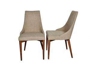 "Ashcroft Imports - ASH3400 - ""Marco"" - Dining Chairs - Mid Century Modern - Set of 2 - Beige Polyester Upholstery"