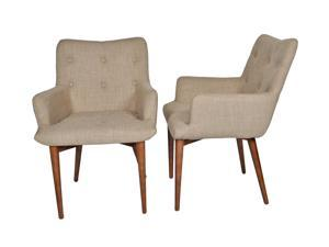 "Ashcroft Imports - ASH3800 - ""Cynthia"" - Dining Chairs - Mid Century Modern - Set of 2 - Button Tuffed - Beige Polyester Upholstery"