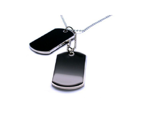 Men's Army Style Double Dog Tag with Chain