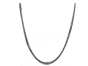 Men's Black and Silver Stainless Steel Box Link Chain