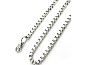 "Stainless Steel 22"" Box Link Chain"