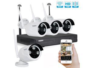 TMEZON 960P 4CH HD Wireless Security Camera System with 4x HD WiFi Day Night Vision Outdoor IP Cameras (1.3MP, IP66, 80ft IR, No HDD)
