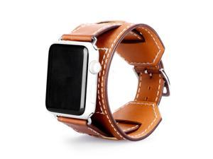 Cesapay® 38mm Apple Watch Band, Genuine Leather Smart Watch band Replacement With Adapter Metal Clasp for Apple Watch iWatch All Models--Cuff Bracelet 38mm/ brown