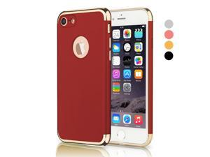 iPhone 7 Case, CESAPAY® 3 In 1 Ultra Thin and Slim Hard Case Coated Non Slip Matte Surface with Electroplate Frame for Apple iPhone 7 (4.7'')(2016) -- Red