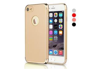 iPhone 7 Case, CESAPAY® 3 In 1 Ultra Thin and Slim Hard Case Coated Non Slip Matte Surface with Electroplate Frame for Apple iPhone 7 (4.7'')(2016) -- Gold