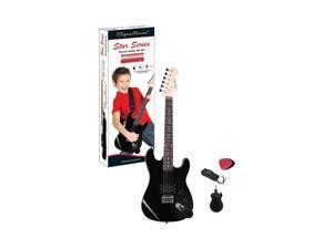 Spectrum Ail 64J Junior Size 34-Inch Electric Guitar With Bonus Mini Amplifier, Black 817760016888