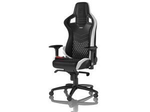 noblechairs - Epic Series Real Leather Gaming Chair – Black w/White & Red