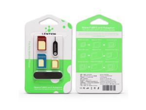 LENTION 5-in-1 Nano SIM Card to Micro / Standard SIM Card Adapter Converter Kits with Tools Polish Chip and Sim Pin Needle