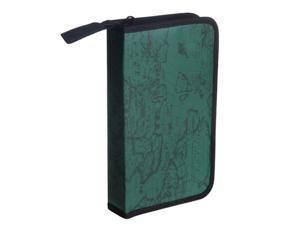 THZY Green World Map Pattern CD VCD DVD Discs Storage Case PVC Bag