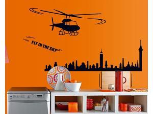 "Dnven Helicopter Fly in the Sky over City Buildings Removable Wall Stickers Living Room Bedroom Children's Room Wall Decals Peel & Stick High Quality Vinyl Lettering Stickers Home Décor Size:59"" x 31"""