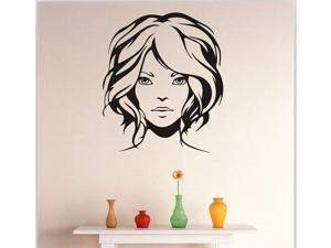 "Dnven Removable Painted Woman Face Wall Stickers Living Room Bedroom Girls Room Wall Decals Window Stickers High Quality Vinyl Halloween Wall Art Home Decor Black 22.4""W x 25.5""H"