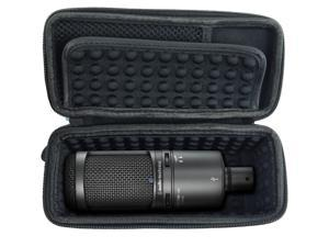MICSAFE Compact Padded Condenser Microphone Case - Sleek Design Fits One Large Diaphragm Audio-Technica Studio Condenser Microphone Models AT2020USB PLUS , AT2035 , ATR2500-USB and Small Cables
