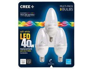 Cree BB13-03527OMC-12DE12-1C600 TW Series 40W Equivalent Candelabra Decorative Dimmable LED Light Bulb (3-Pack), Soft White