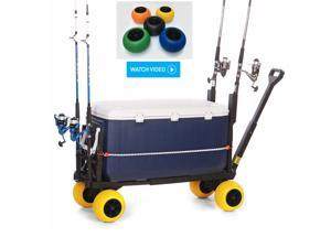 Plus One Fishing Surf Cart Flatbed Trolley Hand Pull Wagon with Wheels PO600D