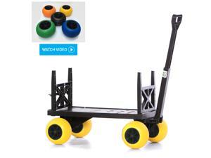 Plus One Sports Coach Beach Trolley Cart Flatbed 4 Wheel Pull Wagon Moving Dolly Use Indoor Outdoor