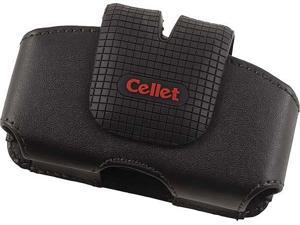CELLET FUSION BLACK LEATHER HORIZONTAL POUCH CASE BELT CLIP FOR SMALL CELL PHONE