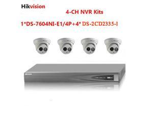 Upgradable Hikvision 4CH NVR DS-7604NI-E1/4P with 4ports POE and Hikvision 4xDS-2CD2335-I 3MP outside IR POE IP camera kits ONVIF With 2.8 or 4mm lens