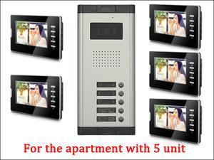 7'' LCD Monitor Wired Video Door Phone with 380TVL Camera,2 Way voice talking,Night Vision,1 Unit outdoor 5 Unit Indoor Apartment Audio Visual Entry Intercom System 1V5 Bluid in MIC