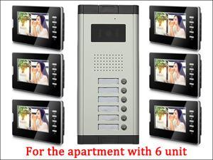 7'' LCD Monitor Wired Video Door Phone with 380TVL Camera,2 Way voice talking,Night Vision,1 Unit outdoor 6 Unit Indoor Apartment Audio Visual Entry Intercom System 1V6 Bluid in MIC