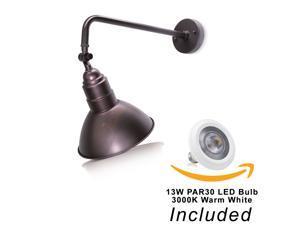 """10'' Adjustable Barn Shade With 19 3/4"""" Curved Arm And 13W LED PAR30 3000K (Warm White) Bulb (Bronze LED)"""