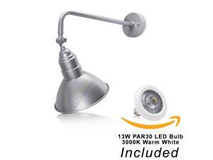 """10'' Adjustable Barn Shade With 19 3/4"""" Curved Arm And 13W LED PAR30 3000K (Warm White) Bulb (Silver LED)"""
